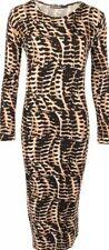 Crew Neck Animal Print Viscose Stretch, Bodycon Women's Dresses