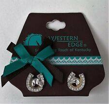NEW Horse Head & Crystal Horse Shoe Silver & Gold Tone Stud Post Earrings