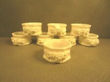 Lot of 8 Vintage Shafford Bone China Octagon Napkin Rings White Floral Roses