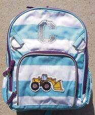"Pottery Barn Kids Small Fairfax Turquoise/White Stripe Backpack w/Bulldozer ""C"""