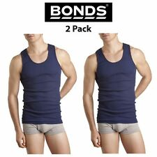 Mens Bonds Chesty Singlets 2 PACK Muscle Tank Top Blue Work Tough Shirt M7NLO