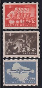 Croatia 1945 Set from S/S compl. Genuine Mi#170/2- 1140 Euro MLH* Scarce & Rare!