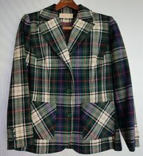 Vintage Women's Pendleton Sz 12 100% Virgin Wool Plaid 3 Button Jacket USA Made