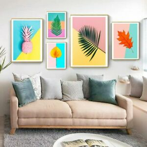 Canvas Painting Tropical Palm Leaf Cactus Pineapple Modern Home Decor Posters