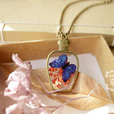 Creative Real Dried Flowers Butterfly Natural antique bottles Pendant Necklace