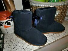 AUSTRALIA Leather Lam Boots Leder Lammfell Stiefel Schleife Gummisohle blau 31