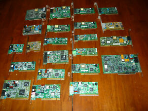 AS IS Lot of 22 Internal Dial Up Modem Cards PCI ISA CNR Vintage Untested