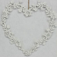 GISELA GRAHAM WHITE FLORAL METAL LOVE HEART HANGING WEDDING DECORATION HOME GIFT