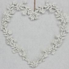 Gisela Graham Blanco Floral Metal Corazón Amor Colgante Decoración De Boda