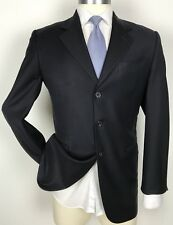 Fendi Italy Bespoke Custom Dark Navy Blue Blazer Super 100's Wool Sport Coat 40L