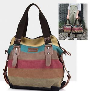 Large Multi Colour Canvas Tote Bags Cross Body Shoulder Messenger Satchel Bag