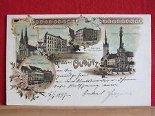 TOP Farblitho - Olmütz / Olomouc - ua. Cafe Hirsch, Hotel Lauer - gel 1897