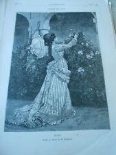 Gravure 1876 - L été d après Toulmouche jeunne femme ombrelle roses a12373da2b4