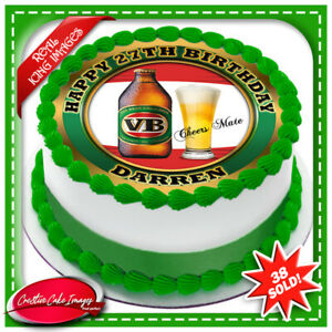 VB Beer Edible Icing Image Cake Topper Personalised Birthday Party Decoration