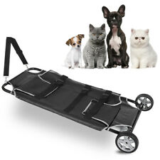"""New listing Animal Stretcher Pet Trolley Two Wheels 250lb Capacity Pet Bed 45x27"""" Black Usa"""
