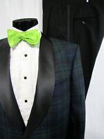 Jos A Bank Green Black Tartan Wool Shawl Lapel Tuxedo Size 42S