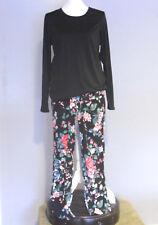 Express & CuddlDuds Pajama Set, Black and Florals, Size M/L