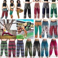 Men Women Thai Harem Trousers Boho Festival Hippy Smock High Waist Yoga Pants UK