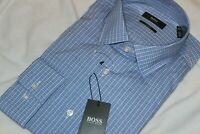 Hugo Boss Men's 100% Cotton Blue Check Slim Fit Dress Shirt NWT $128 Size 16