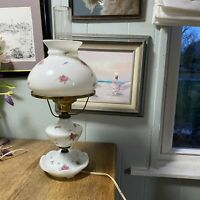 GONE WITH THE WIND MILK GLASS TABLE LAMP WITH PINK FLOWERS ROSES