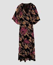 Zara Women Devore Velvet Midi Dress Size M NWT