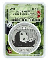 2011 China 10 Yuan Silver Panda PCGS MS69 - Panda Frame