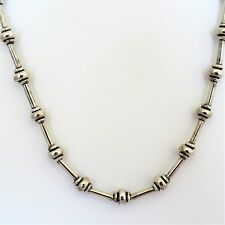 """Italian Sterling Silver Ball and Tube Necklace, Marked HAN, 16"""""""
