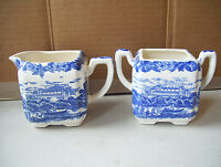 Antique Johnson Brothers Blue & White Creamer & No Lid Sugar Bowl Unsigned