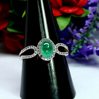NATURAL 5 X 7 mm. GREEN COLOMBIAN EMERALD & WHITE CZ RING 925 STERLING SILVER