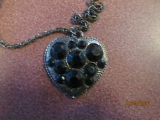 Shaped Pewter Pendant Pewter Chain Vintage Black Onyx Stones On Heart