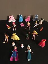 Polly Pocket Disney Princess Dolls Rubber Clothes Accessories Lot Belle Ariel