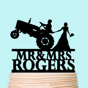 Tractor Farm Wedding Cake Topper Rustic Country Farmer Toppers Custom Decoration