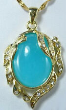 Sky-blue Jade 18KGP Crystal Phoenix Peafowl Women Party Pendant Chain Necklace