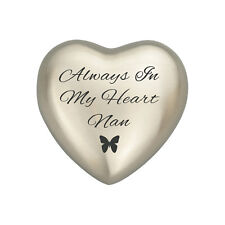 Always In My Heart Nan Silver Butterfly Heart Urn Keepsake for Ashes Cremation