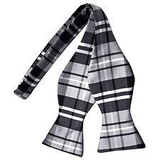 New men's self tie free style bow tie plaid & checkers formal wedding gray black