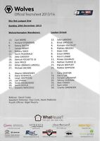 Teamsheet - Wolverhampton Wanderers v Leyton Orient 2013/14