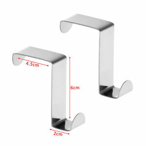 Pack of Reversible Over Door Cabinet Hook Hanger Stainless Steel
