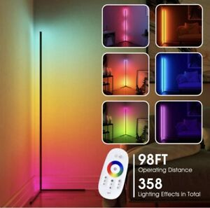 CRAZCALF Corner Floor Lamp RGB Color Changing LED Dimmable w Remote Control