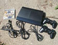 Sony PlayStation PS3 SuperSlim CECH-4004c 500GB Black 2 controllers UNTESTED