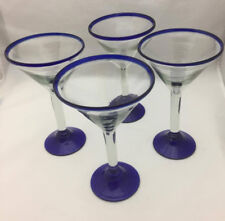 Mexican Glassware Martini Glasses with Cobalt Blue (set of 4) - Hand Blow