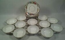 "ANTIQUE SET 12 ROSENTHAL PORCELAIN DOUBLE HANDLED BOWLS+10 PLATES, ""THE DRESDEN"""
