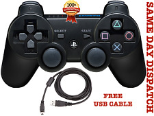 SONY SIXAXIS PLAYSTATION 3 WIRELESS BLUETOOTH PS3 CONTROLLER RED + Cable Black