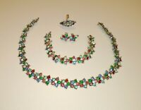 Vntg Colorful Rhinestone Parure Necklace Bracelet Ring Earrings Costume Jewelry