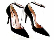 NEW DESIGNER MAGRIT BLACK PATENT LEATHER POINTY TOE ANKLE STRAP HIGH HEEL 9/39.M