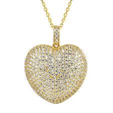 Custom Heart Pendant Simulated Diamond 925 Silver 14k Gold Finish Necklace Combo