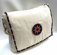 Native American Style Black Star Beaded Canvas Messenger Bag 12 X 10 inch