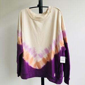 $98 Free People Sz M FP Movement Metti Crew Sweatshirt~Ombré~Pullover Tie Dye