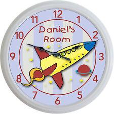 "Rocket Solar System Custom Personalized Wall Clock Child Baby Nursery New 10"""