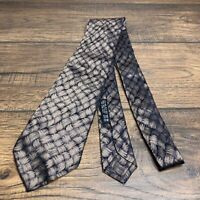 Brioni Mens Tie 100% Silk Hand Made In Italy Unique Basket Weave Champagne Blue