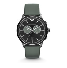 EMPORIO ARMANI Classic Chronograph Black Dial Grey Leather Men's Watch 5310